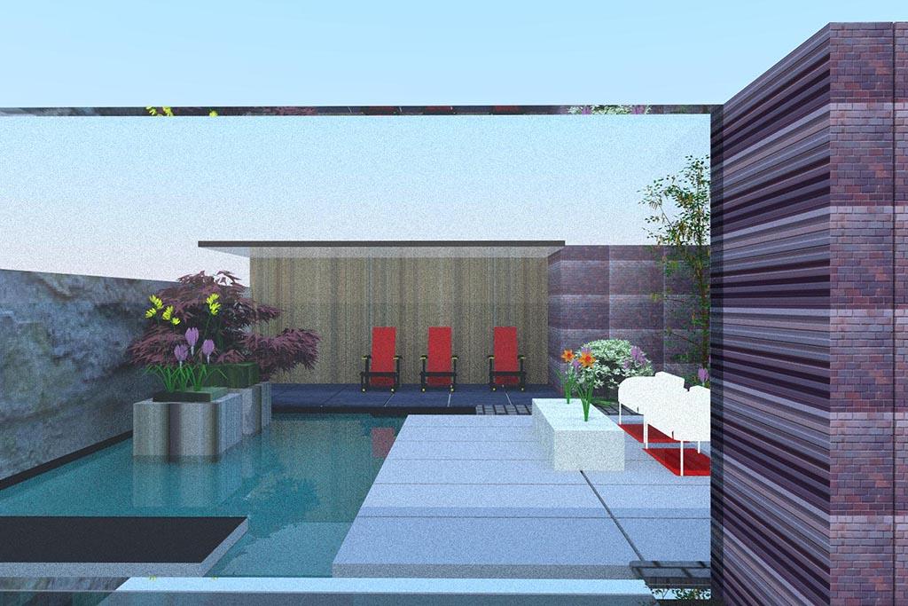 Keramische tegels tuin ontwerp for Voortuin strak modern