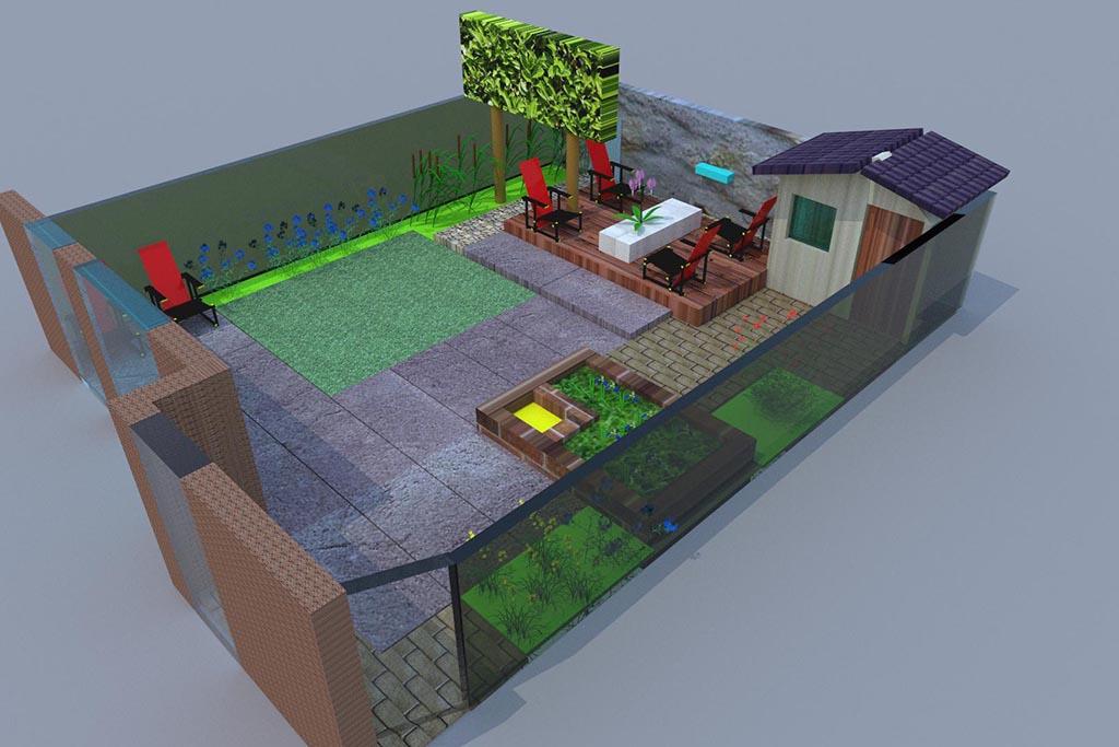 Keramische tegels tuin ontwerp for Tuinontwerpen achtertuin