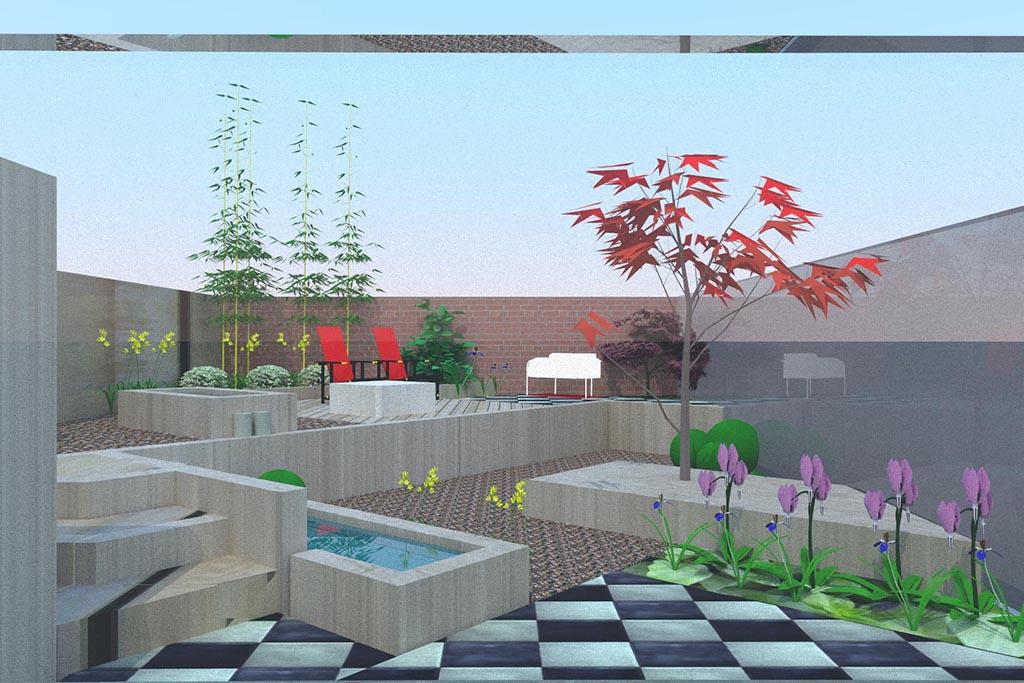 Keramische tegels tuin ontwerp - Tuin ontwerp foto ...